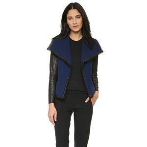 Vince Leather Sleeve Boucle Jacket
